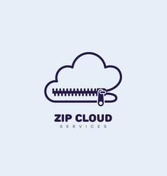 zip cloud logo vector image