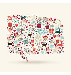 Christmas colors icons social media bubble shape vector image vector image