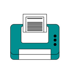 Color contour cartoon blue printer device with vector