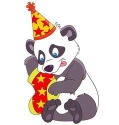 cute xmas cartoon panda vector image