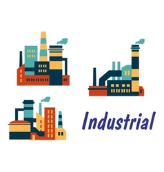 Flat icons of factories and plants vector image