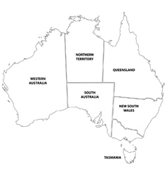 Outline map of the states of Australia vector image