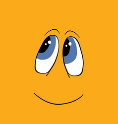 smiling happy face over yellow background isolated vector image