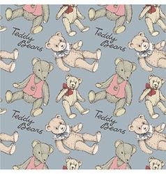 teddy pattern blue vector image vector image