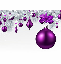 Background with purple 3d christmas ball vector