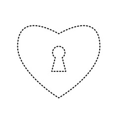 heart woth lock sign black dashed icon on vector image
