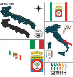 Map of Apulia vector image vector image