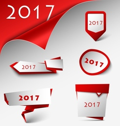 New Year card with red design pointers template vector image vector image