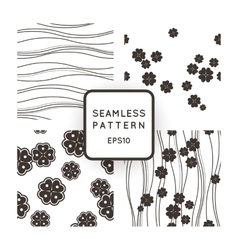 Set of seamless monochromatic patterns with vector image