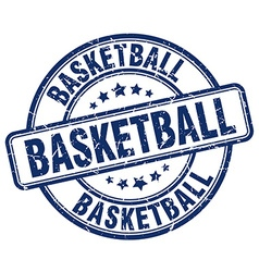 basketball blue grunge round vintage rubber stamp vector image