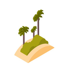 beach with palms icon isometric isolated sea vector image
