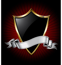 black shield and silver ribbon vector image