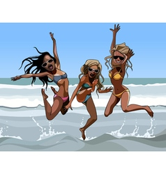 cartoon enthusiastic women in swimsuits jumping vector image