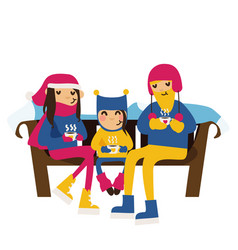 Family in winter clothes sitting on a bench vector