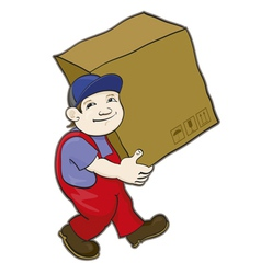 Porter carries a box vector image vector image