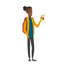 young african-american traveler drinking cocktail vector image