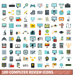 100 computer review icons set flat style vector image