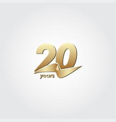 20 years anniversary celebration gold ribbon vector