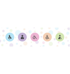 5 disabled icons vector