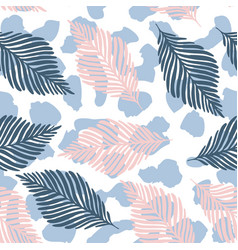 abstract leopard skin and tropical leaves vector image