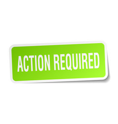 Action required square sticker on white vector