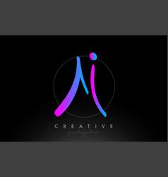 Ai artistic brush letter logo handwritten in vector