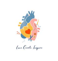 Anatomical heart modern print design art work vector