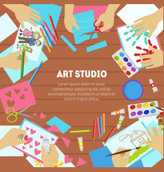 art studio banner template with space for text vector image