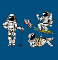 Astronaut soaring with the usa flag dancing vector