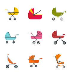 baby pram icon set flat style vector image