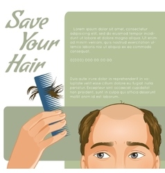 Background with man who has hair fall vector image