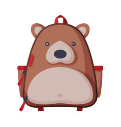 Bear shaped childish backpack front view of vector