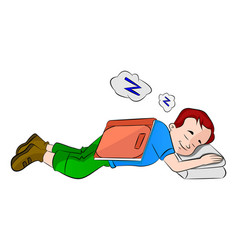 boy falling asleep while studying vector image
