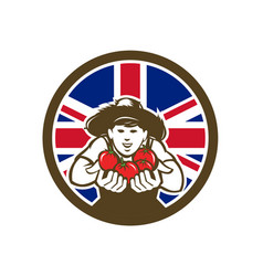 british organic grown produce union jack flag icon vector image