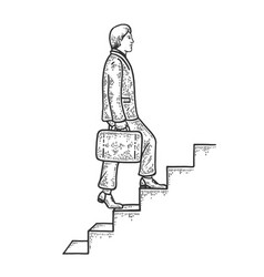 Businessman climbs stairs sketch engraving vector