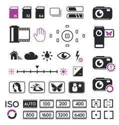 Camera display icons and symbols vector