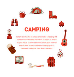 camping and hiking equipment banner with place vector image