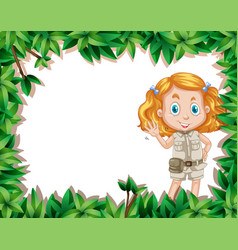 Camping girl in nature frame vector