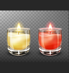 Candle in glass jar realistic vector