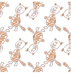 cartoon tiger contours seamless vector image