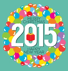 Colorful Balloon Bunch 2015 New Year Card vector image