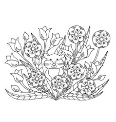 Coloring page with flowers and hamster vector