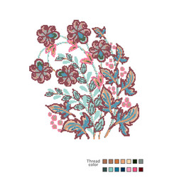Cross stitch flowers ready-made template for vector