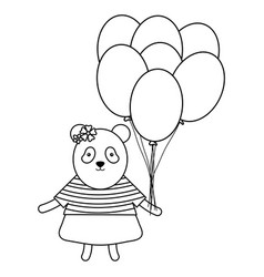 cute bear panda with balloons helium in birthday vector image