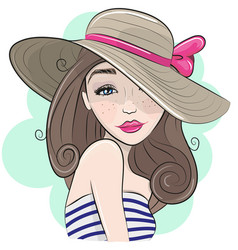 Cute cartoon girl with straw hat vector