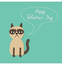 Cute sad grumpy siamese cat and speech bubble in vector