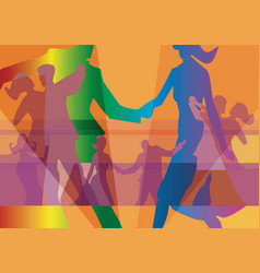 Dancing couples colorful background vector