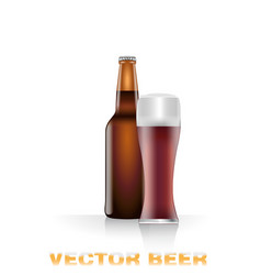 Dark beer bottle and glass vector