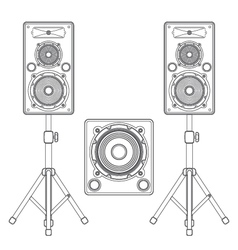 Dark contour loudspeakers on stands and subwoofer vector