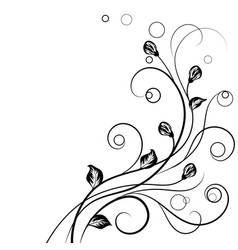 Floral background in black and white vector